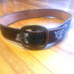Beth Frank Floral Leather Belt sz 36